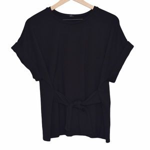 Express Black Rolled Sleeve Tie Front Blouse Sz M